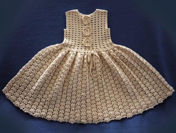 Crochet Baby Dress/ vintage.  .