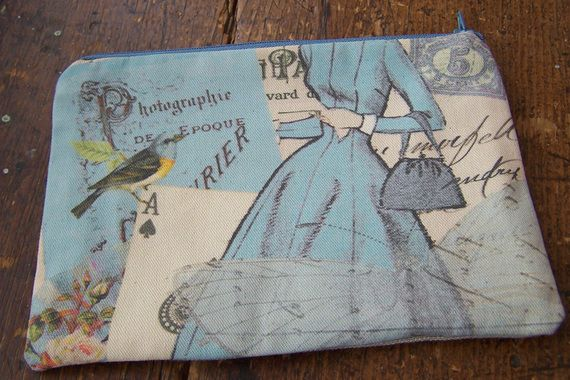 Small pouch with Blue dress  design - perfect to use as cosmetic bag, pencil case or diaper pouch