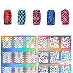 Цветы-3D формы для акрилового маникюра-Пальцы рук / Пальцы ног-7.513cm-1pcs nail sticker template-ПВХ