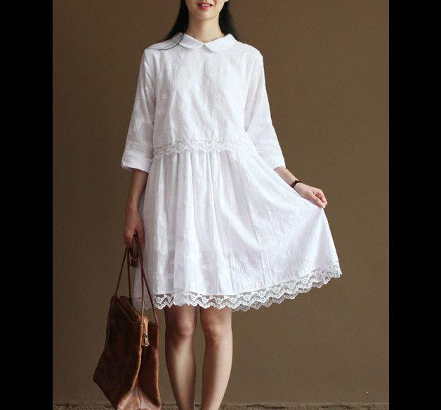 Robes longues, dentelle blanche coton finition sundresses-ONU 169 est une création orginale de marcelmoda sur DaWanda
