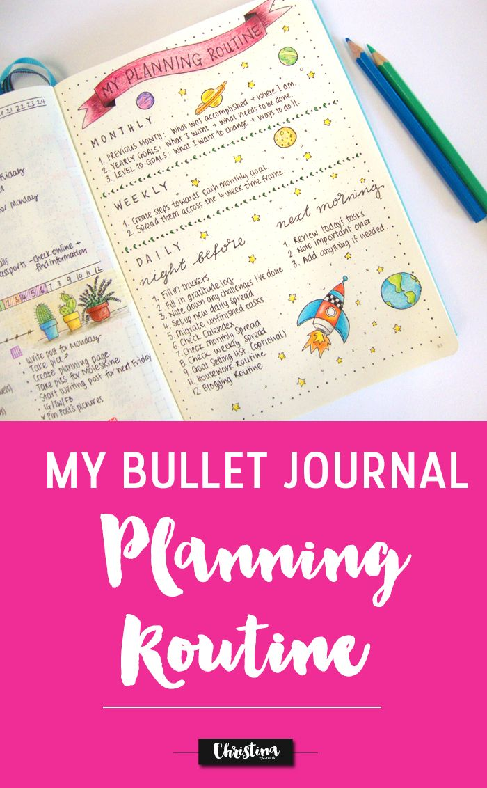 Sharing my bullet journal planning routine. How I break my planning into monthly, weekly and daily spreads. - www.christina77star.co.uk