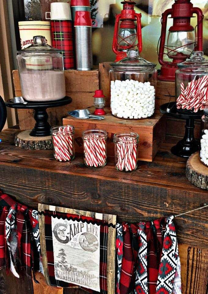 Rustic camping Christmas party! See more party ideas at CatchMyParty.com!