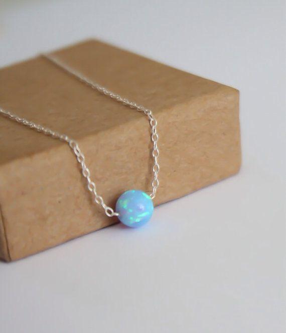 Opal necklace opal ball necklace opal silver necklace by miniLALI