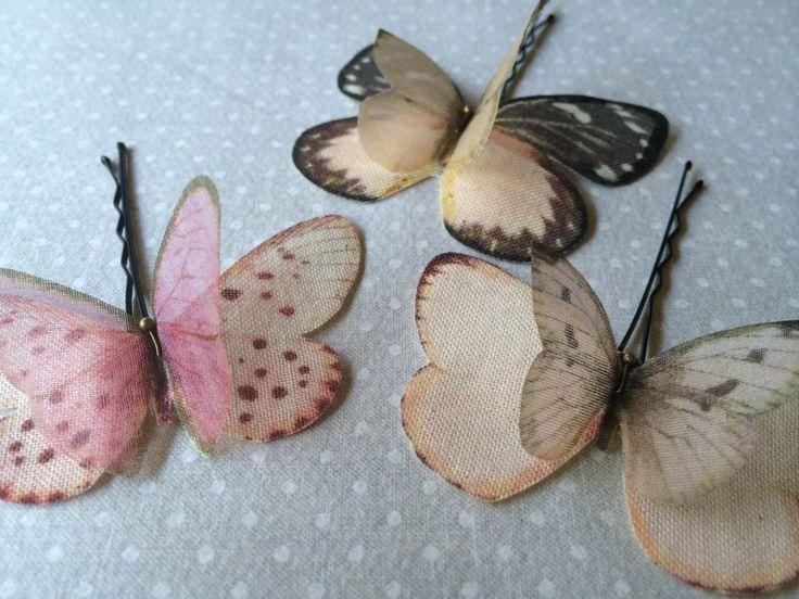 Soft - Mollette per Capelli con Farfalle in Cotone Bio e Organza di Seta Rosa Pallido e Nero - 3 pezzi by TheButterfliesShop on Etsy
