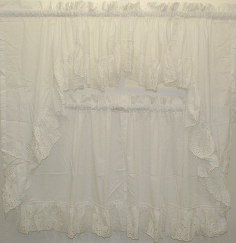 Vienna Eyelet swag white by The_Curtain_Shop. Save 14 Off!. $18.99. 65%poly/35% cotton. High quality. Updated classic eyelet design. Great in many different rooms. Machine Care. This updated classic ruffled eyelet design comes in two colors, white and natural. The featured double crecent valance makes this design stand apart from similar curtains.