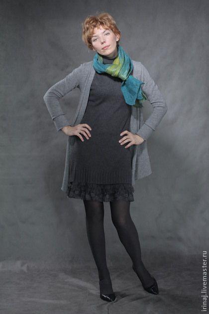 "валяный шарф ""Шелест"" - зелёный,шарф,шавфик,шарф женский,шарф шерстяной"