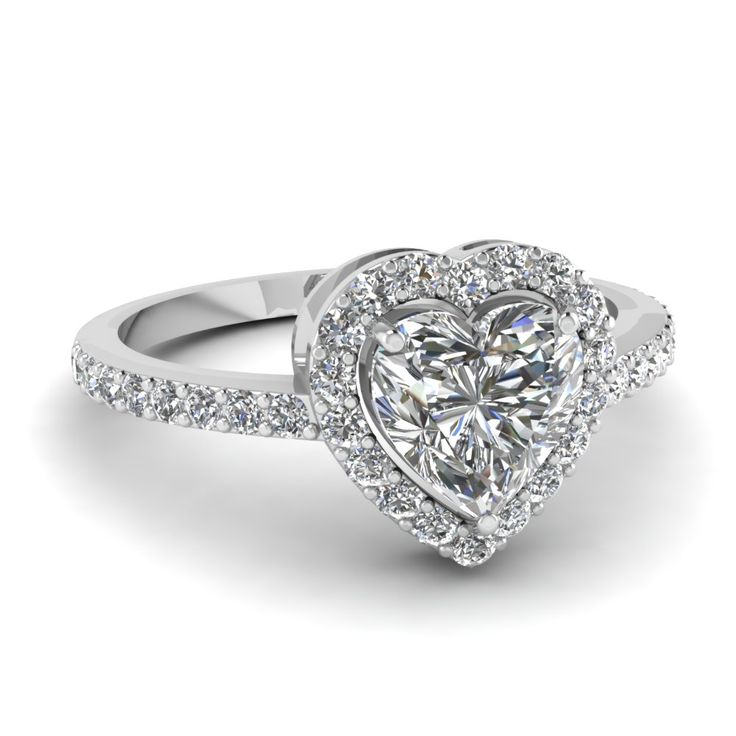 Heart Shaped Halo Engagement Rings with Diamonds in 950 Platinum exclusively styled by Fascinating Diamonds