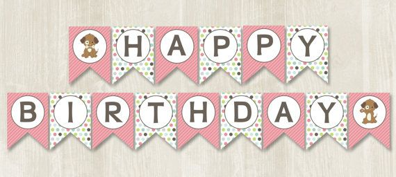 Puppy birthday, puppy themed party, puppy party, puppy decorations, puppy banner, happy birthday. Hey, I found this really awesome Etsy listing at https://www.etsy.com/listing/239381054/happy-birthday-banner-instant-download