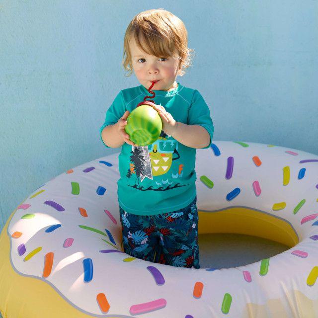 Maillots de bain T-shirt de bain de type « rashguard » à manches courtes Vert Foncé