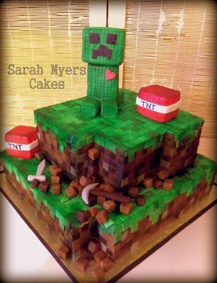 Minecraft Cake - Creeper <3 TNT - by flipnsarah @ CakesDecor.com - cake decorating website