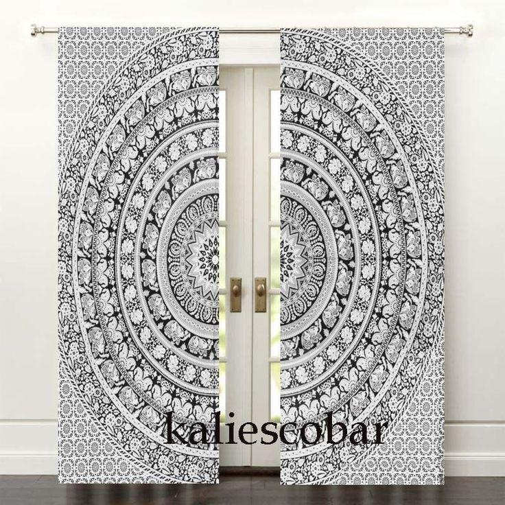Elephant Mandala Curtains Tapestry Drapes Window Valances Bohemian #Unbranded #Traditional