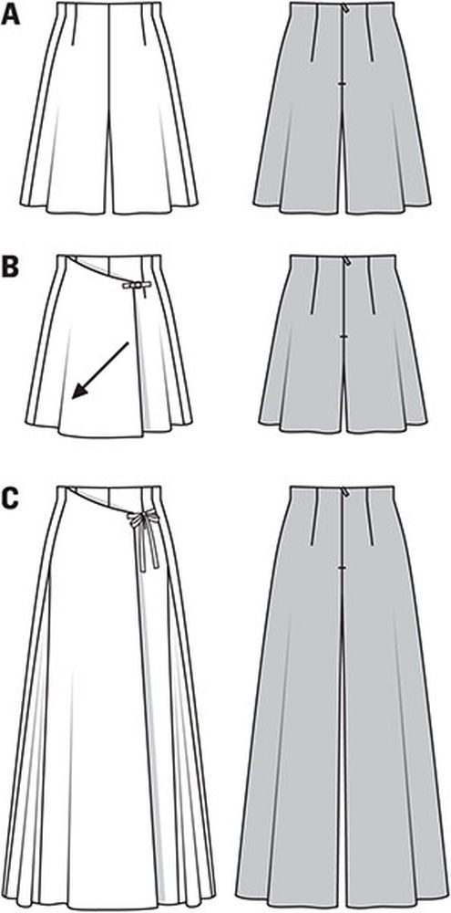 three pantskirts in different lengths, with slightly raised waist. concealed front of variant b and c with one-sided overskirt. variant c gets its ample volume from the godets caught in the seams of both sides.