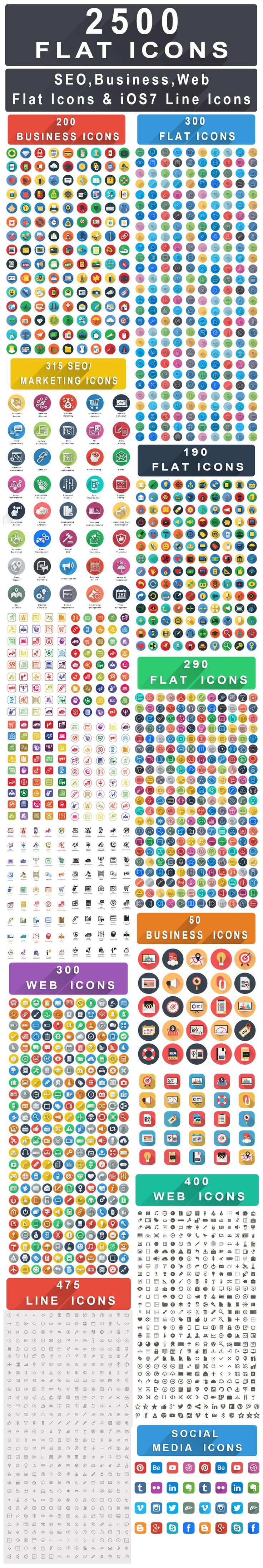 2500+ Flat Icons Bundle: Seo Icons, Business - Financial, Web - Marketing and iOS8 Icons