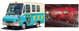 (左)ヤマト運輸のトラック。(右)羽田クロノゲートの「クロスベルトソーター」。ベルトは「セル」と呼ばれる区切りにわかれており、セルごとに横へ動くため、荷物に与える衝撃は少ない。(写真=AFLO)