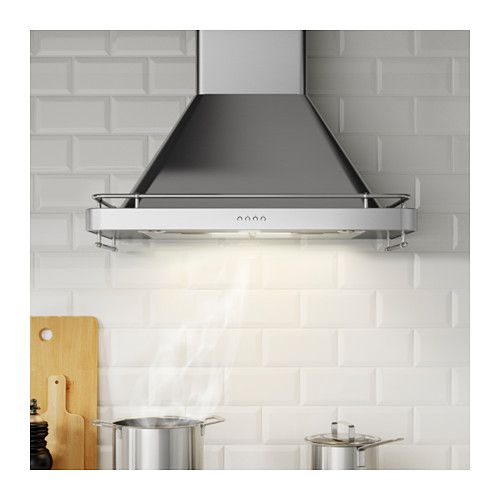 $679  IKEA  DÅTID Exhaust hood  - Article Number: 802.006.51 *I've seen Sarah Richardson use this hood several times & I like it - you can feature pretty tile behind it without any cabinets (or with cabinets) but b/c the flu part is exposed you look at this exhaust hood + the little bars around the outside look a bit like you could hang stuff off them though it's decorative!