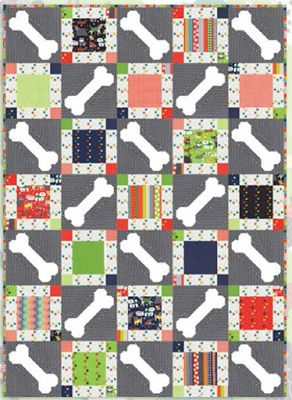 "= free pattern = ""Here Boy"" dog bone quilt by Moda Fabrics"