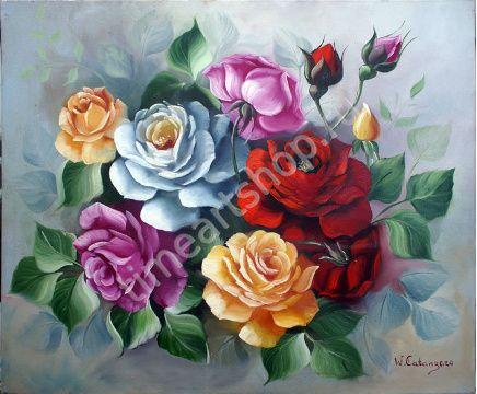 """inaldo Escudeiro """"Нежность утренних роз"""" картина раскраска по номерам, размер 40*50см, цена 750 руб. картина своими руками"""