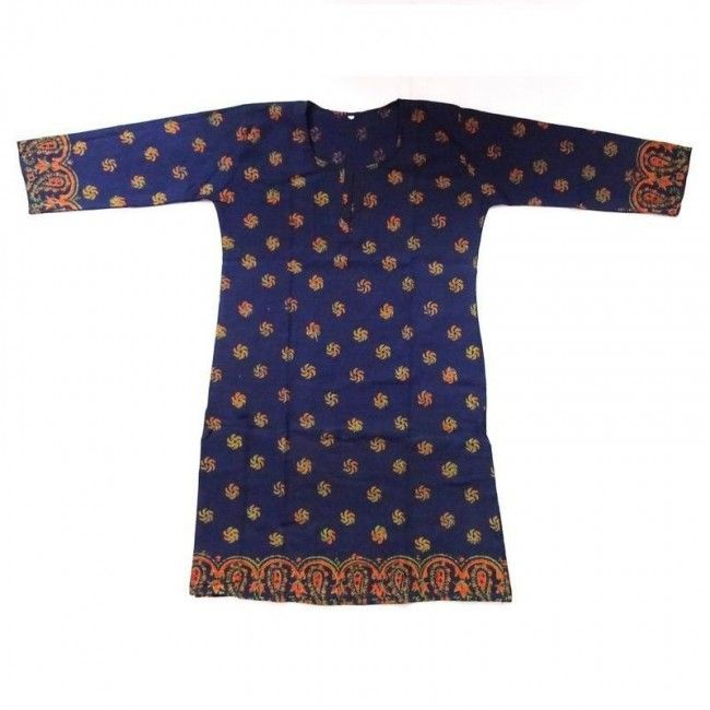 The kurti for the simple person. The kurti has purple colour in majority along with traditional prints all over the kurti, and cup of the sleeves are decorated with orange designs. http://www.indishcraft.com/default/wearing/traditional-multi-printed-kurti.html