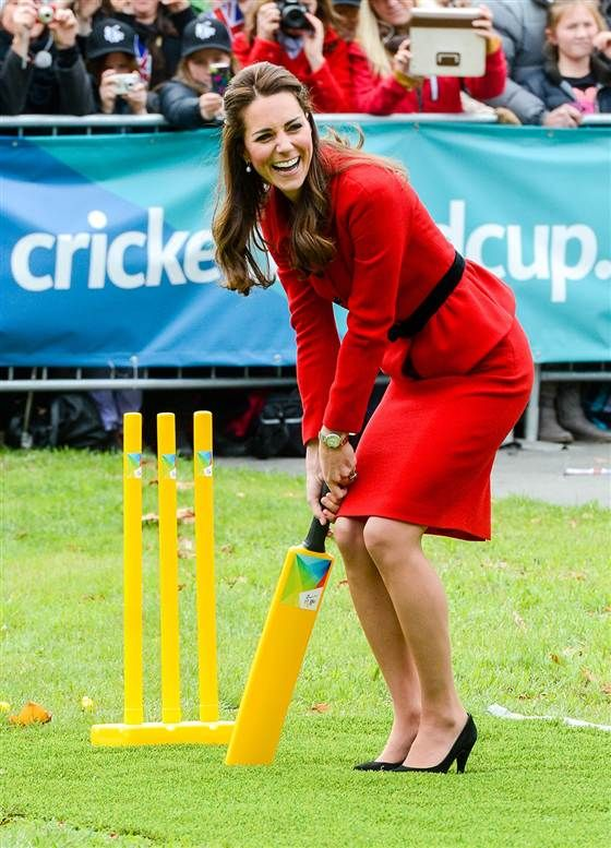 Duchess Kate quells pregnancy rumors with wine-tasting, cricket match ---> After an off-handed remark by Prince William sparked rumors of a second royal baby on the way, the Duchess of Cambridge helped quash them with two days packed with a cricket match, a wine-tasting, and a ride in a jet boat.  (April 11)