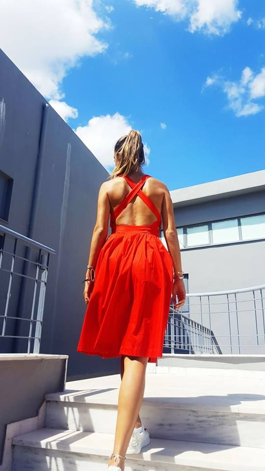 Red-y for anything/and everything red🌡☉ #ootd #newin #red #openbackdress >http://bit.ly/2tQIu8t #summer #helmistyle
