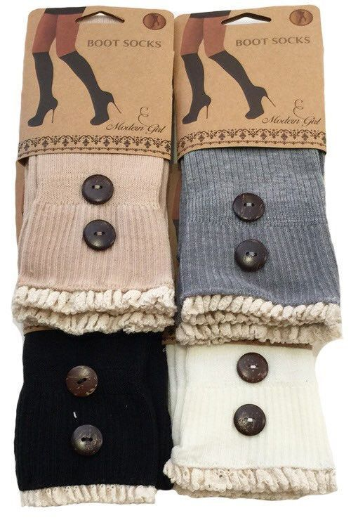 Boot Socks with Lace Ruffle Trim and Buttons! Perfect for Fall