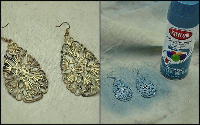 Spray paint jewelerySprays Painting, Baby Shower Invitations, New Life, Costume Jewelry, Tarnished Jewelry, Costumes Jewelry, Old Jewelry, Spray Painting, Crafts Stores
