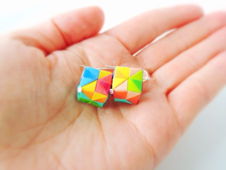 Small multicolour box earrings - aren't they cute?!  - Erigami Design -