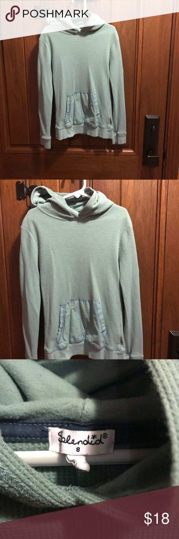 Splendid boys size 8 thermal hoodie w/pockets Splendid boys size 8 thermal hoodie w/pockets -  in excellent, like new condition - worn a couple of times at most - kind of like a teal color Splendid Shirts & Tops Sweatshirts & Hoodies