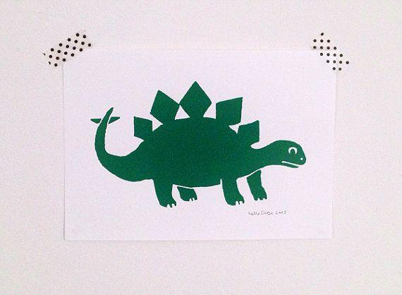 Dinosaur Print Kids Wall Art Handprinted by helloDODOshop on Etsy