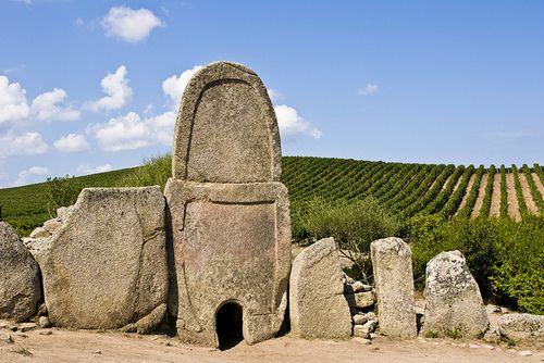 """Tomba dei Giganti (""""Giants' Grave"""", a megalithic tomb of the bronze age) Coddu Vecchiu, Arzachena, Sardinia"""