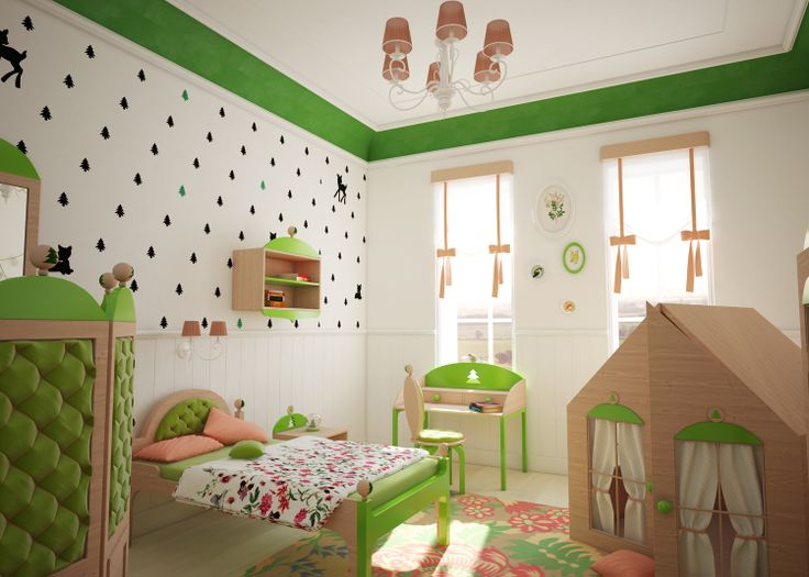 Humpty Dumpty Room Decoration. Wallpaper: BAMBI lost in a little forest somewhere in child's room.