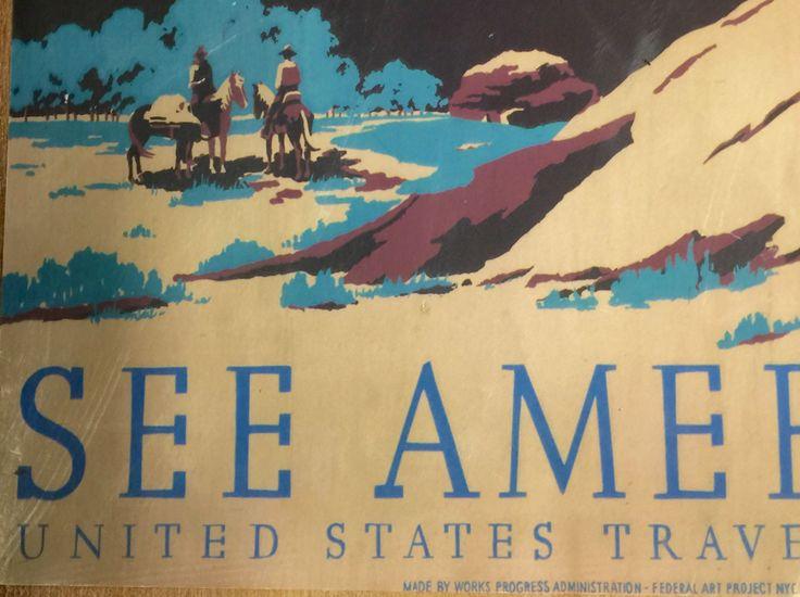 Vintage, United States Travel Bureau poster print, decoupage, western ,outdoor decor by hickerbillyArt on Etsy