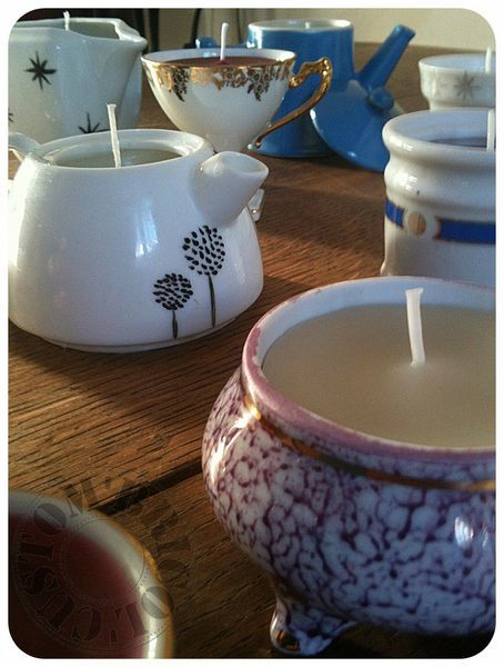 Love this idea. Goodwill trip in the making here plus some more candle making supplies.