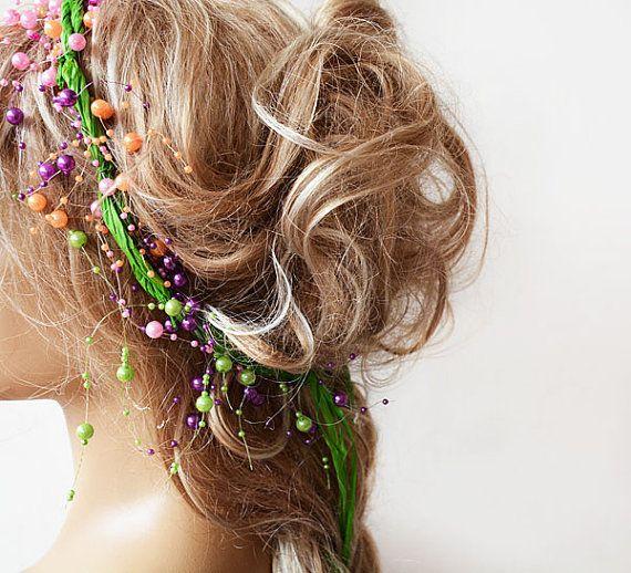 Wedding Crown, Floral Wedding, Colorful Wedding Crown, Bridal Headband, Neon Green Colored Pearls, Hair Accessories, Wedding Hair Accessory