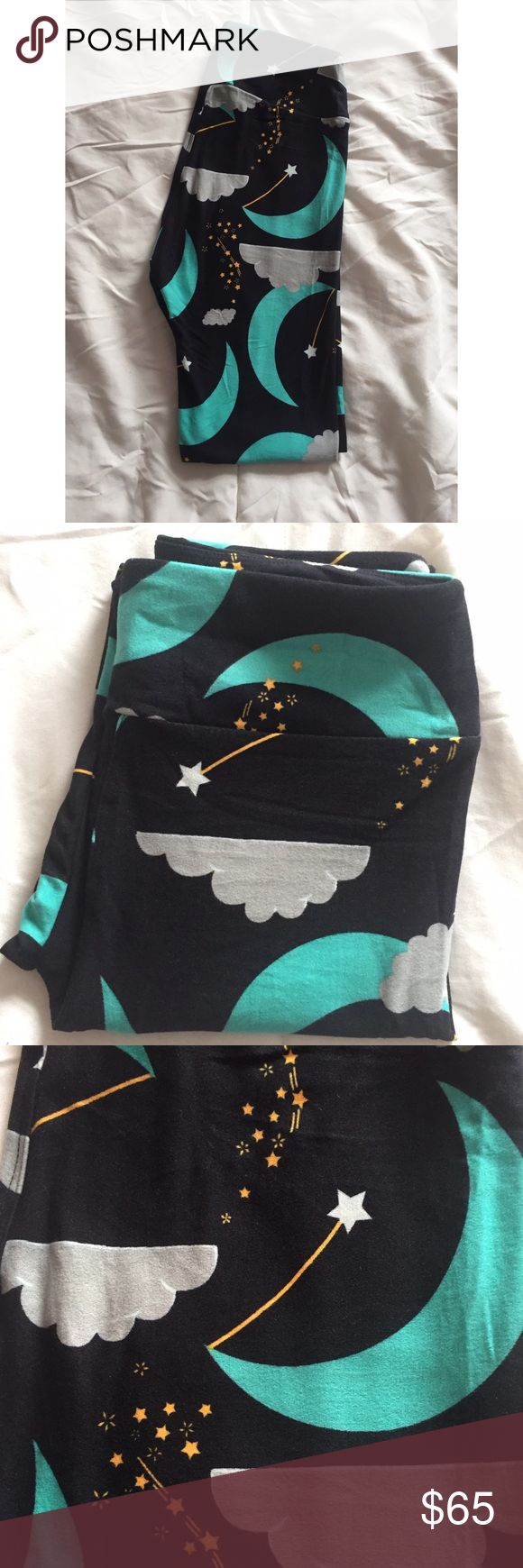 """LuLaRoe sz OS Crescent moon, stars & clouds NWT Brand new, super cute! Black background, teal moons, gray clouds and mustard colored stars. My daughter and I sing twinkle, twinkle every night so I HAD to have these. I finally found them and have obviously packed on some """"holiday"""" poundage so I'll be on the lookout for them in TC. Open to offers but no low balls please! The time alone I spent to find these is worth a small fortune  LuLaRoe Pants Leggings"""