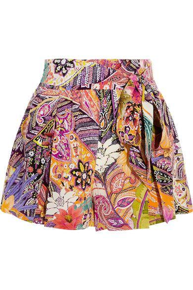 Etro - Printed Silk Crepe De Chine Shorts - Bright pink - IT40