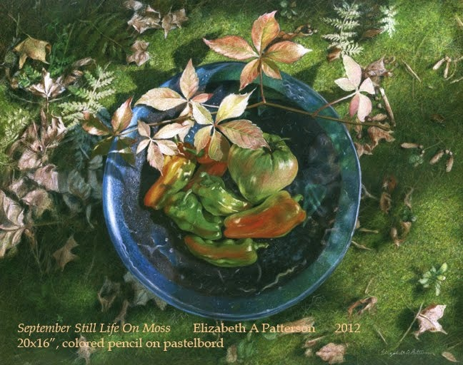 """Still Life on Moss"" by Liz Patterson, colored pencil on Pastelbord."