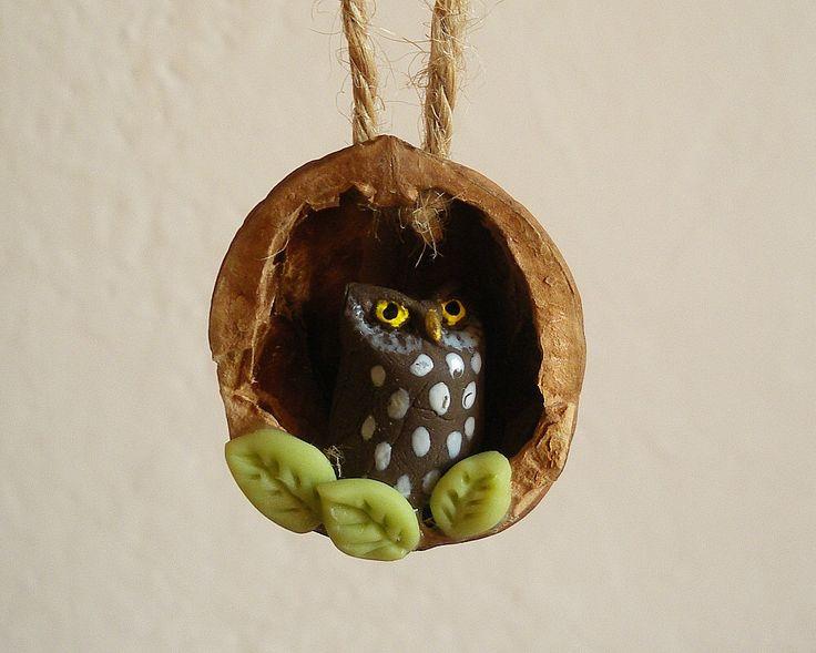 Owl in Walnut Shell Ornament by HystericOwl on Etsy https://www.etsy.com/listing/256620707/owl-in-walnut-shell-ornament