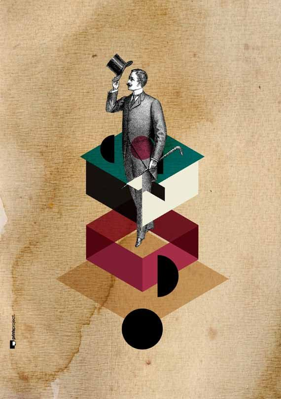Male Figure Surreal Collage. Vintage gentleman surrounded by geometric shapes. Be unique with #PrintsProject original artworks! #collage #poster #homedecor #etsyfinds