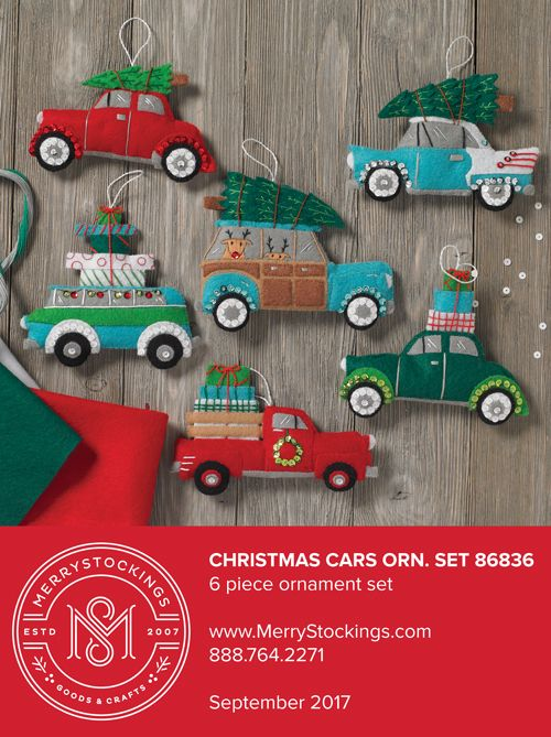 6 piece set of Bucilla felt ornaments featuring old school Christmas cars. Available at MerryStockings in early September.