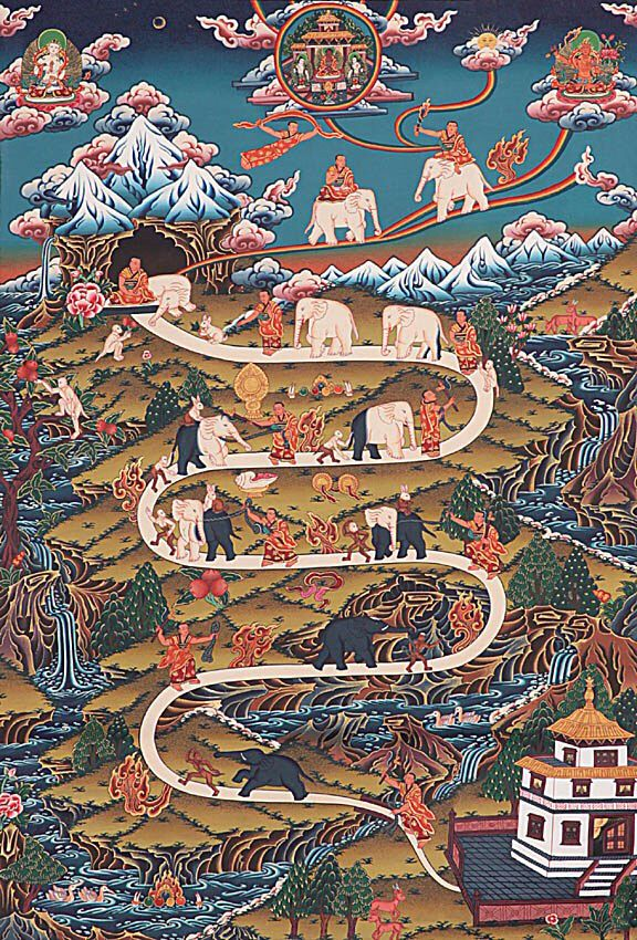 The 9 Stages of Mental Tranquility of Shamatha meditiation. Here a monk chasing, binding, leading and subduing elephant whose color progresses from black to white. The elephant represents the mind and its black colour the gross aspects of mental dullness. The monkey represents distraction or mental agitations. Tibet Thangka
