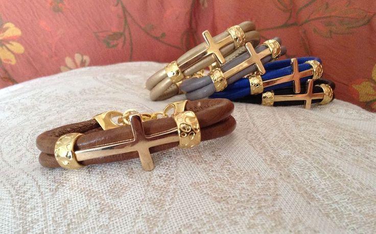 OZZI JEWELLERY: Leather bracelets with gold plated cross.  Price: 15e #OZZIjewellery #fashion #jewelry #bracelets