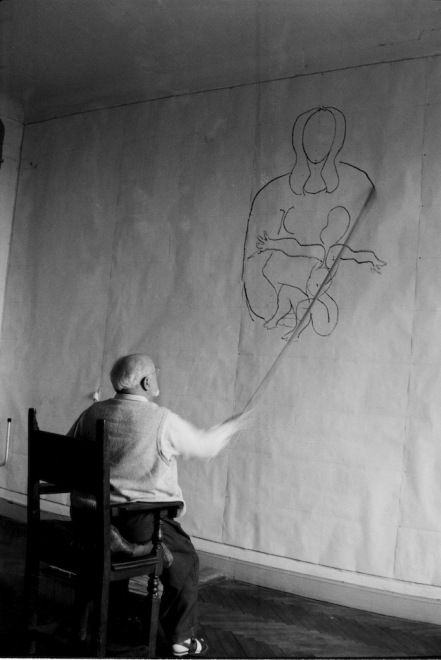 Henri Matisse working on designs for the Vence Chapel