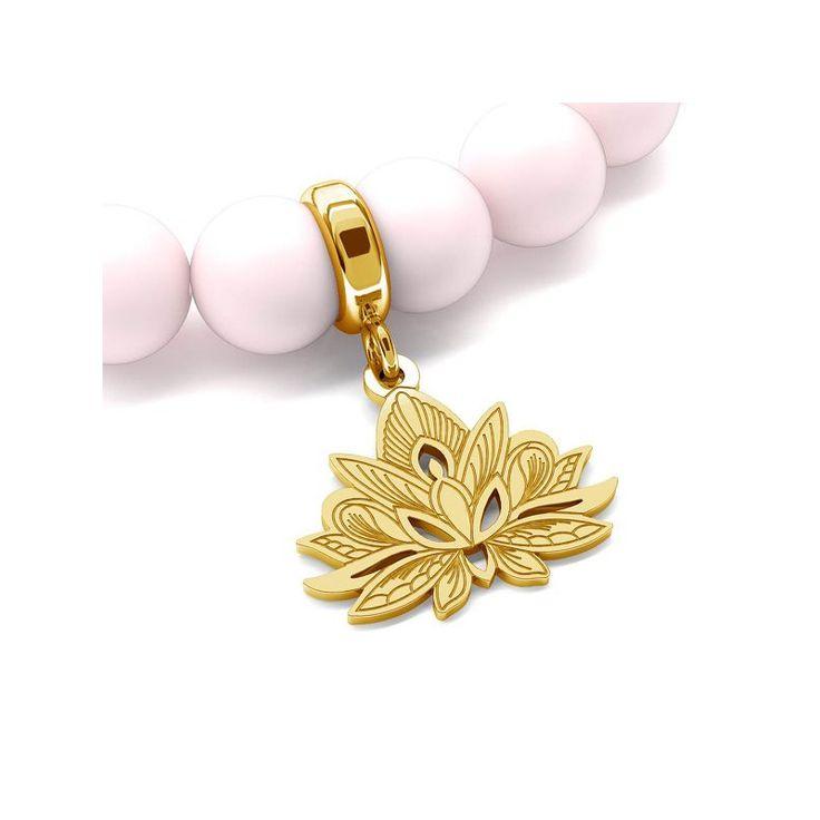 Brățară din perle Swarovski cu element tip floare de lotus din argint 925 placat cu aur. #Swarovski #beading #jewelrymaking #jewelrydesign #DIY #silver