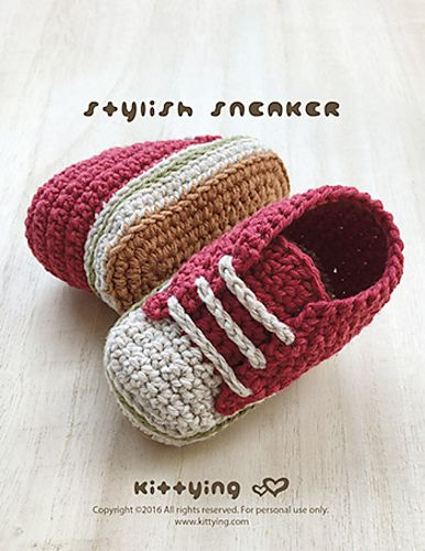 Ravelry: Stylish Baby Sneakers Newborn Booties pattern by Kittying Ying