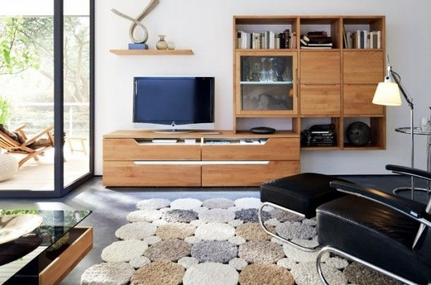 Decoration - Elegant Strong Detailed Modern Medium Wood Media Center With Bookshelf And Stone Patterned Rug: Wood Wall Panels Unit Combinati...