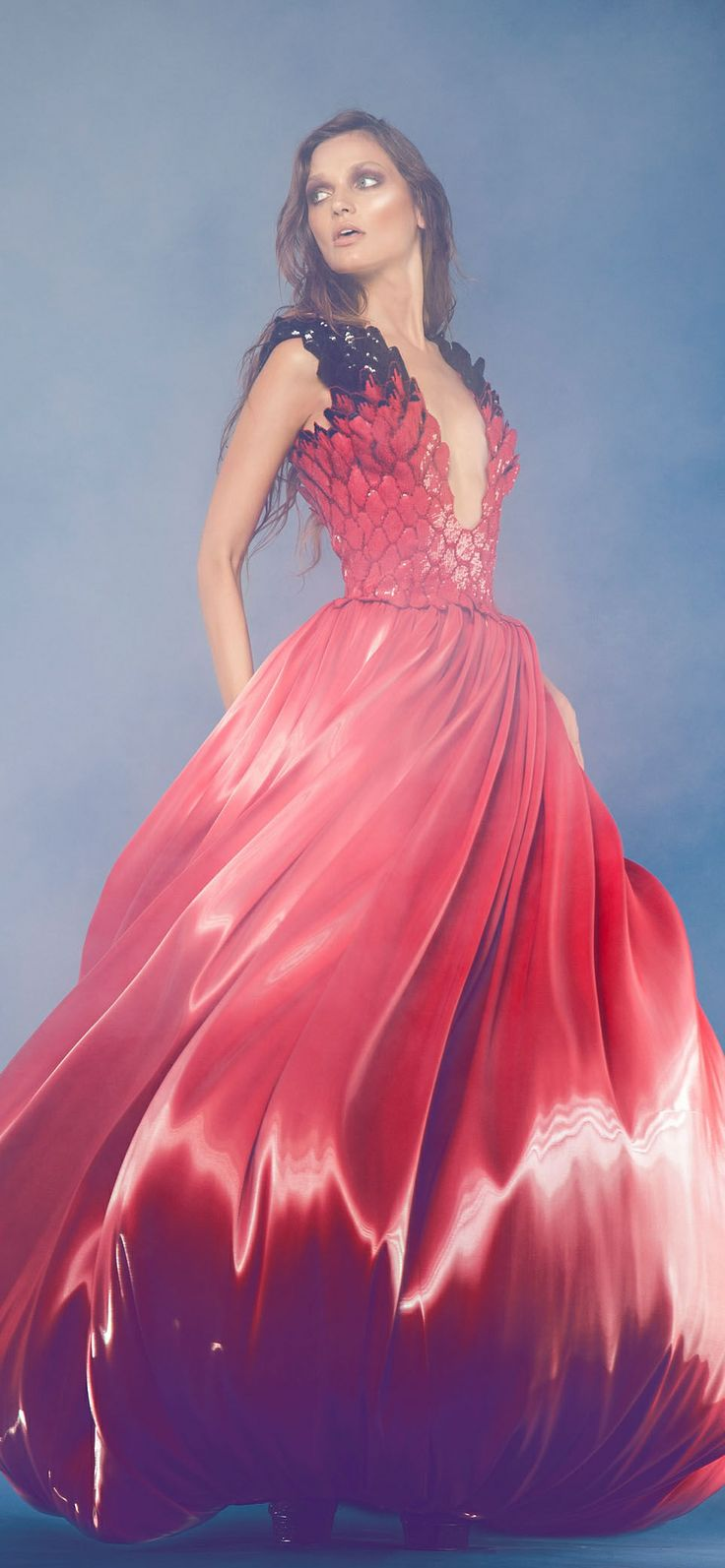 Jean Louis Sabaji Couture F/W 2013-2014 - red and black gown