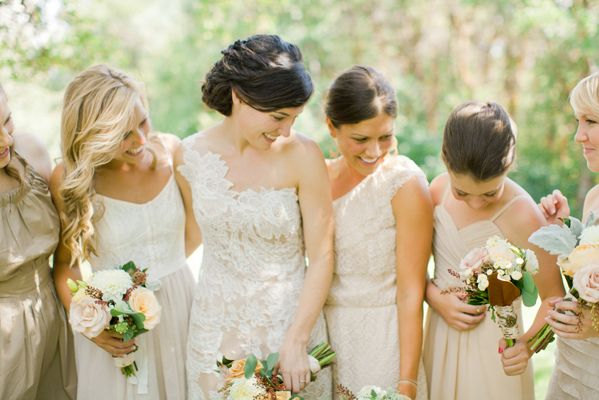 Neutral Bridesmaids: Wedding Bridesmaid Dresses, Ideas For, Once Wedding, Dreams, Wedding Ideas, Bridesmaid Colors, Wedding Theme, Diy Wedding, Lace Dresses