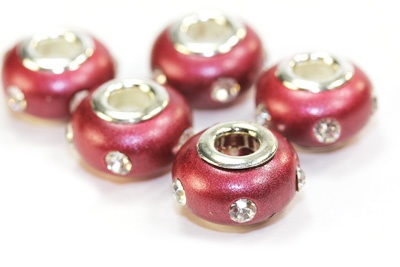 Burgundy Clay Rhinestone Pandora Beads