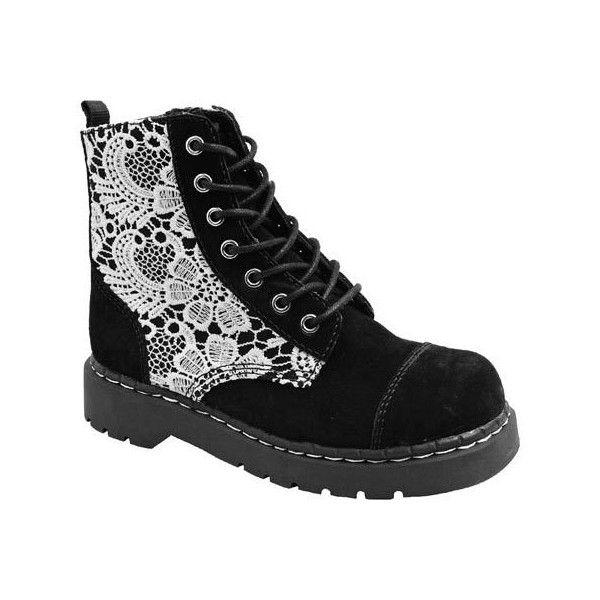 Women's T.U.K. Original Footwear T2251 Crochet Combat Boot - Black... (€105) ❤ liked on Polyvore featuring shoes, boots, black, casual, leather boots, combat boots, combat booties, crochet combat boots, black boots and black suede shoes